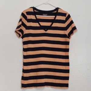 Peach & navy striped cotton v-neck t-shirt